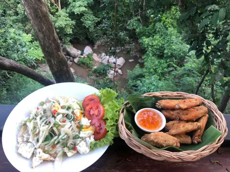 food overlooking a gorge